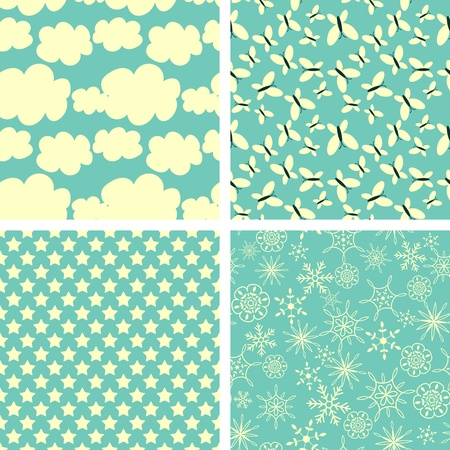 Seamless patterns decorative sky and nature Vector