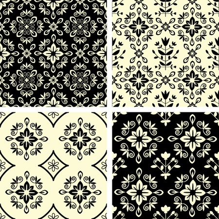 Seamless decorative ornamental damask patterns Vector