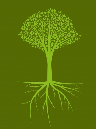 Green silhouette tree with roots Vector
