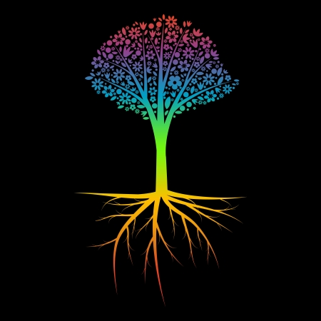Rainbow tree silhouette with roots Illustration