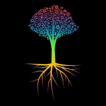 Regenboog boom silhouet met wortels