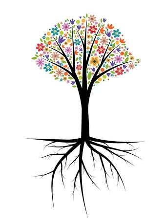 Tree illustration with multicolored flowers Illustration