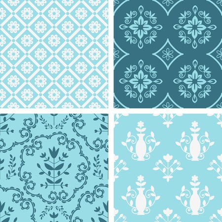 Decorative seamless floral patterns collection Vector