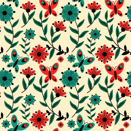 Decorative pattern with bird and flowers Vector