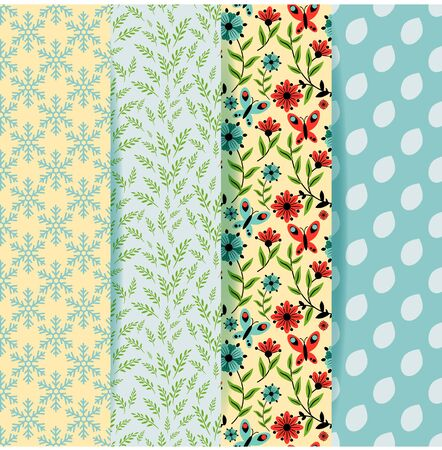 Patterns seasonal  decorative and floral set Vector