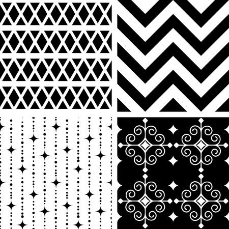 Seamless black and white geometric patterns Illustration