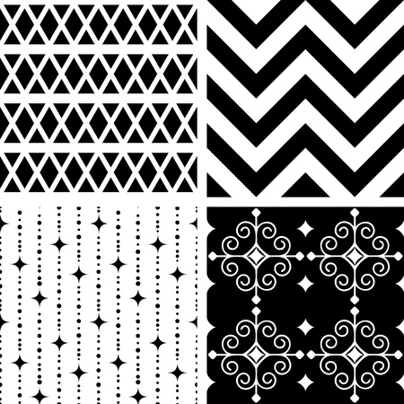 rhombus: Seamless black and white geometric patterns Illustration