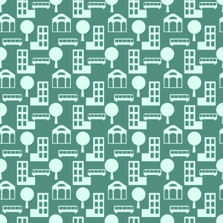 Seamless pattern with buildings and trees Stock Photo - 21813925