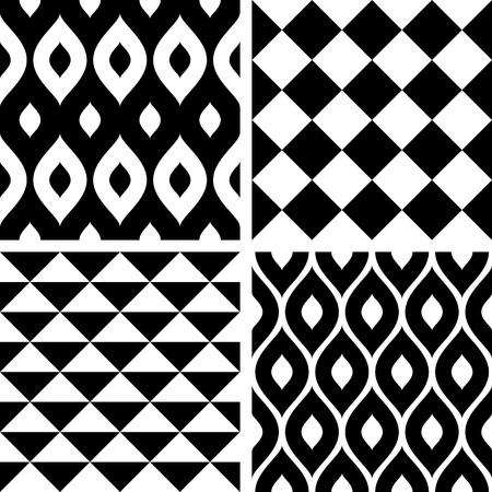 fondo blanco y negro: Patrones de costura blanco y negro Vectores