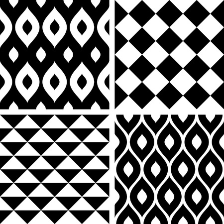white with black: Seamless patterns black and white
