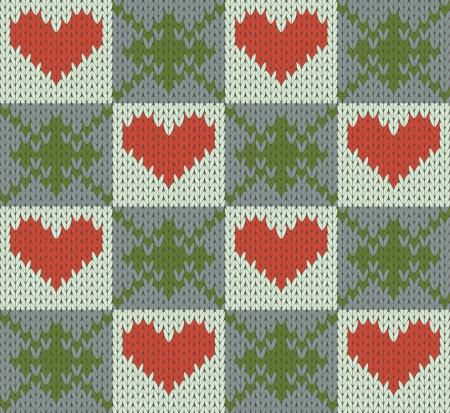 Seamless pattern knit imitation  with hearts Illustration