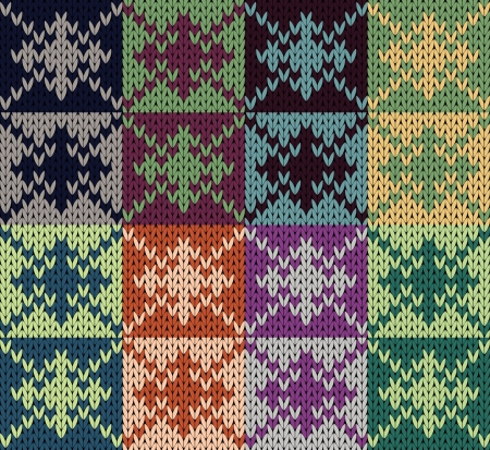 Seamless pattern knit patchwork Vector