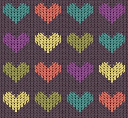 Seamless pattern with knit hearts Çizim