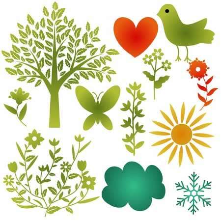 Various nature icons collection Vector
