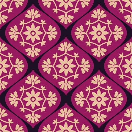 Seamless pattern decorative purple damask Vector