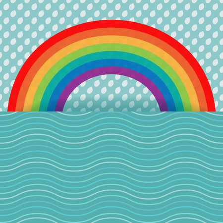 Rainbow card with water and rain Vector