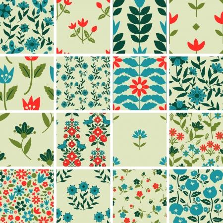 Muster mit floralen Ornament gesetzt Vektorgrafik