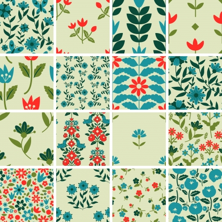 Patterns set with floral ornament Vector