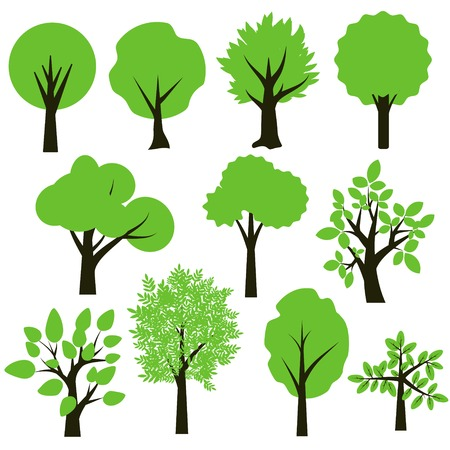 Trees simple green and black set Vector