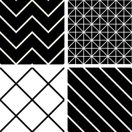 Seamless patterns black and white Vector