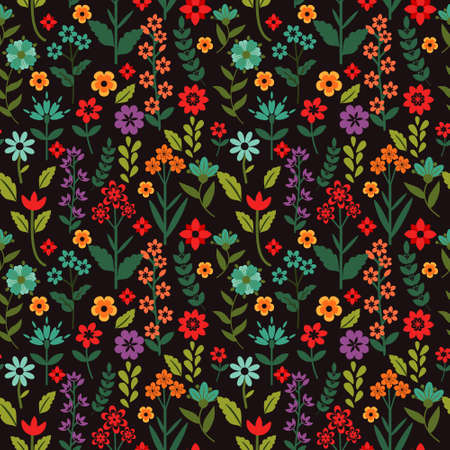 Seamless pattern with multicolored flowers Vector
