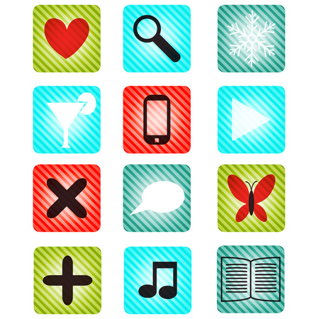 Button set striped with icons Vector