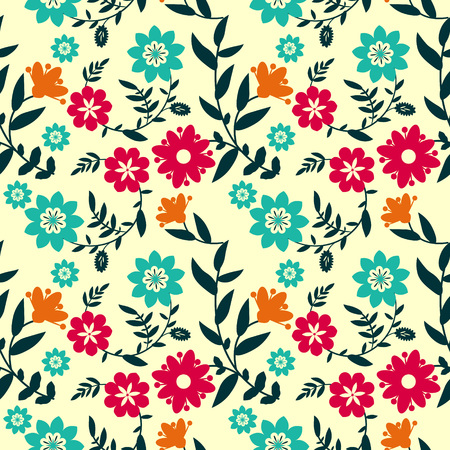 Floral pattern with multicolored flowers Vector