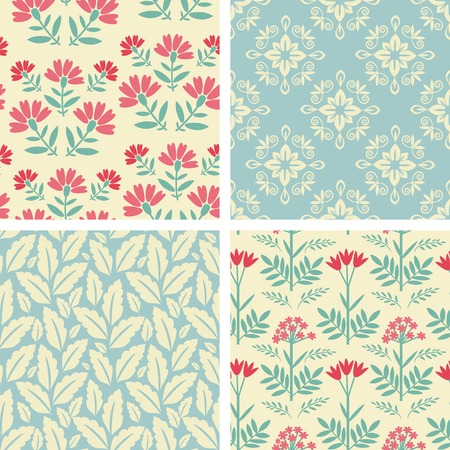 Floral set with red and blue decor Vector