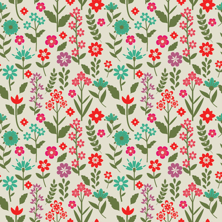 Seamless pattern with pink and blue flowers Vector