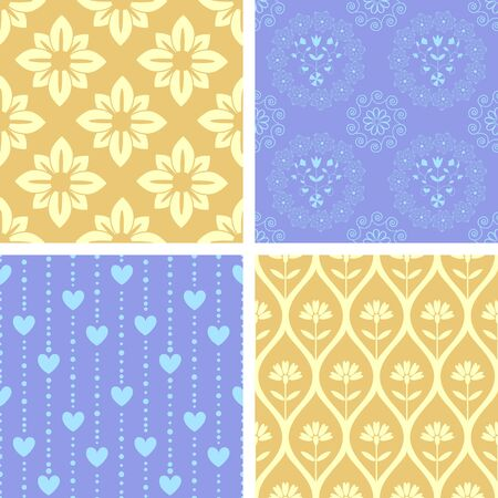 Patterns set yellow and blue Vector