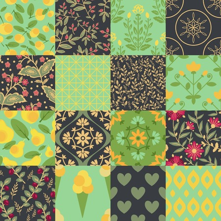 Seamless patterns with floral and food pattern Vector