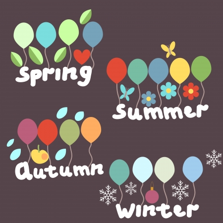 Seasonal labels with decorative elements Vector