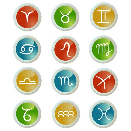 Buttons set with zodiac signs Vector