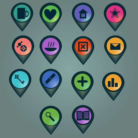 Markers set with various icons Vector