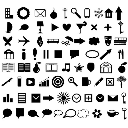 Icons collection various shapes and themes Vector