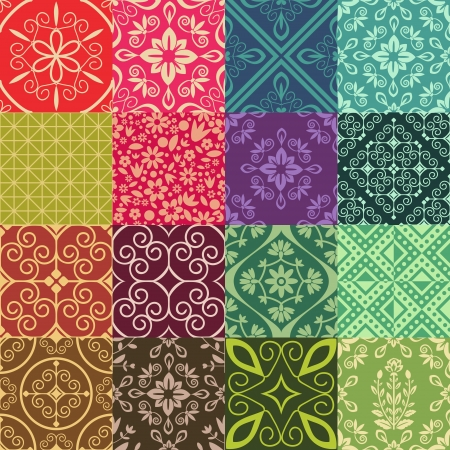Seamless patten collection with damask ornament Vector