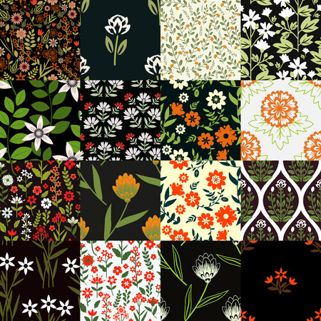 Seamless patterns set with flowers Vector
