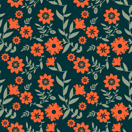 Seamless pattern with red flowers photo