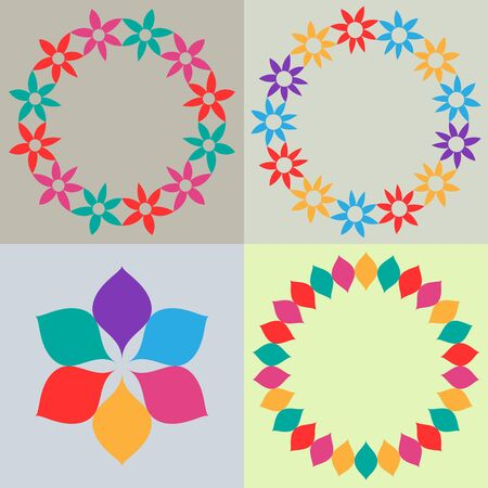 Template backgrounds with floral frames Vector
