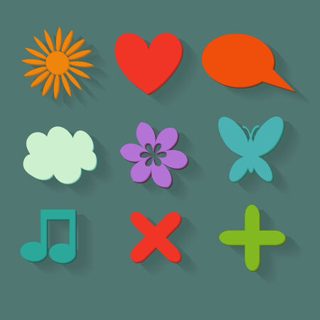 Colored icons set flat design Vector