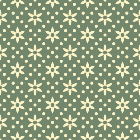 Seamless pattern flowers and dots Vector
