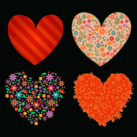 Hearts set floral and stripes Vector