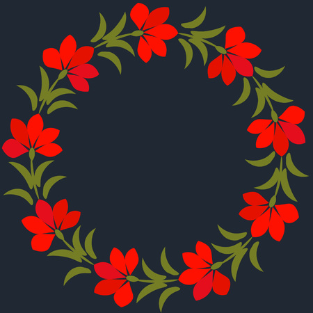 Floral frame with red flowers Vector