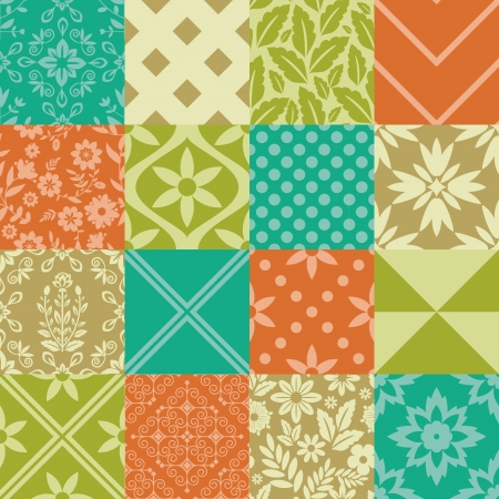 Seamless patterns geometric and floral Vector