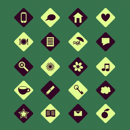 Icons set with various symbols Vector