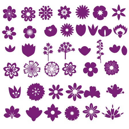Flower decorative isolated elements set Vector