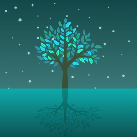Abstract sea landscape with tree Vector