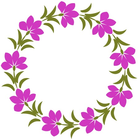 Floral frame with purple flowers photo
