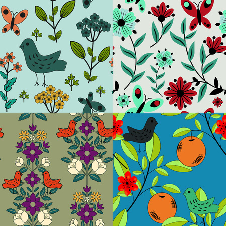 Floral patterns with decorative flowers Vector