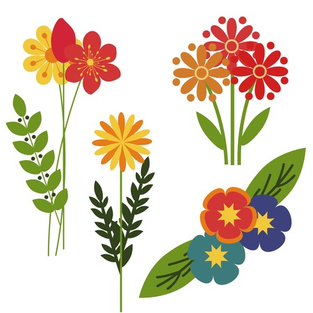 Decorative flowers isolated vector bunches Illustration